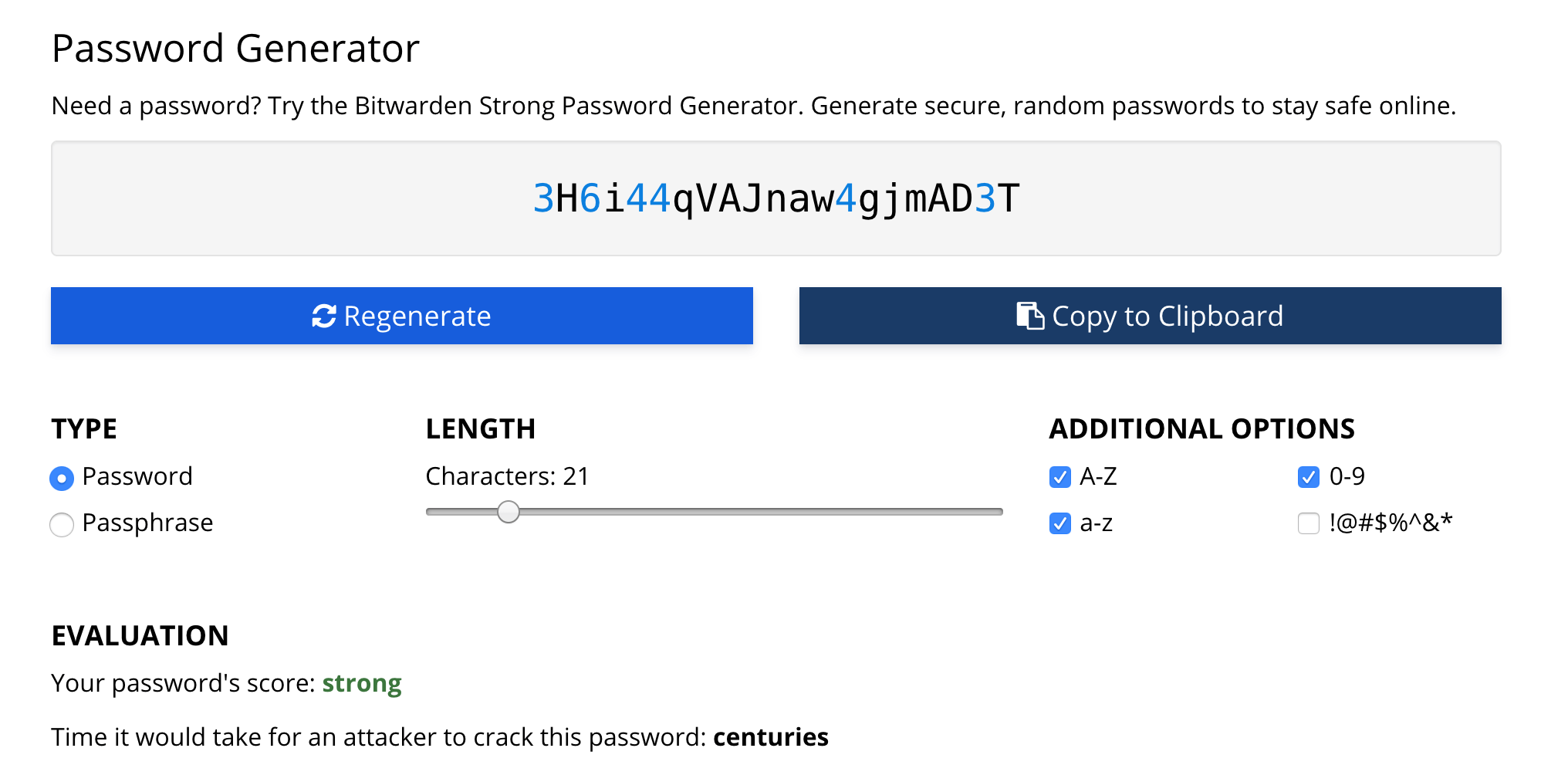 Generate great passwords using the Bitwarden Password Generator.